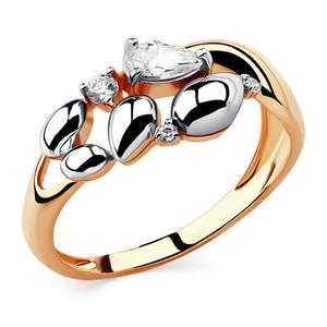 Кольцо красное золото Фантазия фианиты, родий