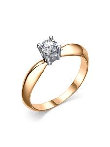 Кольцо помолвочное красное золото фианит, родий