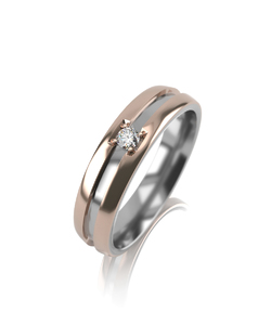 Кольцо обручальное комбинированное золото фианит