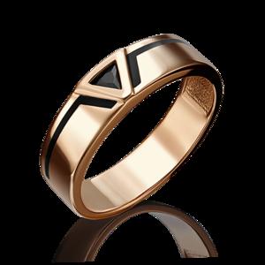 Кольцо красное золото Геометрия фианит, эмаль