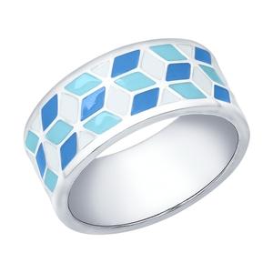 Кольцо серебро Геометрия эмаль