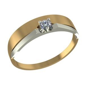 Кольцо красное золото Геометрия фианит,родий