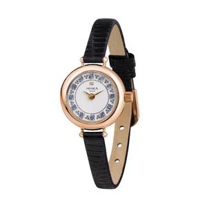 Часы Nika VIVA золото фианиты кварцевые ремень чёрный 6мм