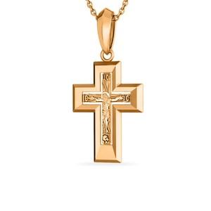 Крест красное золото Прямой родий