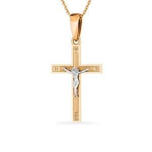 Крест красное золото Прямой с накладкой, родий