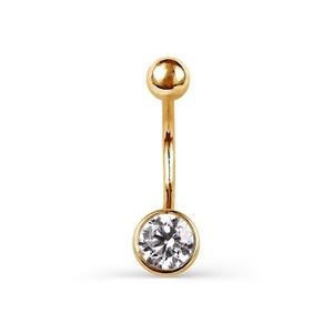 Пирсинг в пупок красное золото Один камень фианит