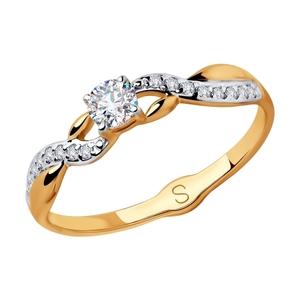 Кольцо красное золото Классический фианиты, родий