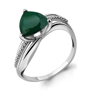 Кольцо серебро Треугольник зел.агат, фианиты