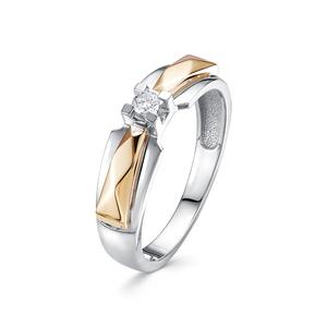 Кольцо белое золото Геометрия бриллиант