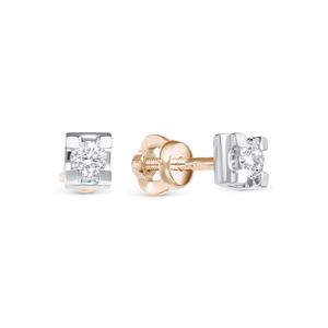 Серьги - Пусеты красное золото Геометрия бриллиант
