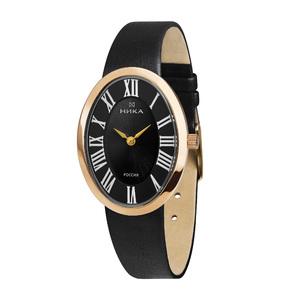 Часы Nika LADY золото кварцевые ремень черный 15 мм