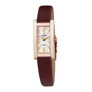 Часы Nika LADY золото кварцевые ремень коричневый 10 мм