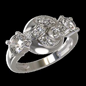 Кольцо серебро Фантазия фианиты