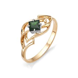 Кольцо красное золото Классический изумруд
