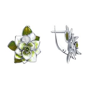 Серьги серебро Флора фианит эмаль