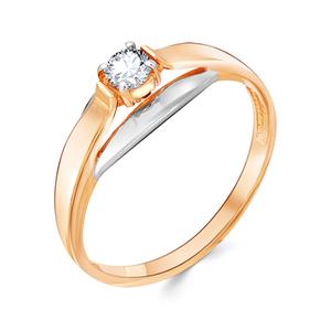 Кольцо красное золото Классический фианит, родий