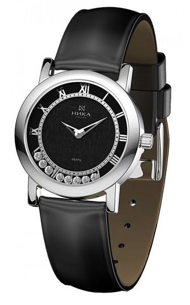 Часы Nika Дефиле серебро кварцевые ремень черный 18мм