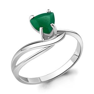 Кольцо серебро Треугольник зел.агат