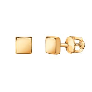 Серьги-пусеты красное золото Квадрат