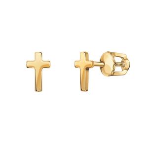 Серьги-пусеты красное золото Крест декоративный