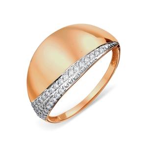 Кольцо красное золото Классический фианиты