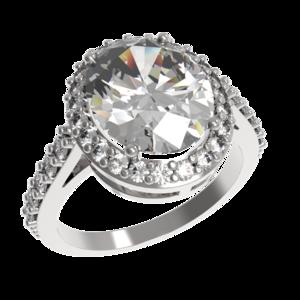 Кольцо серебро Овал фианиты