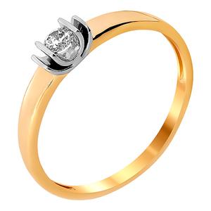 Кольцо красное золото Помолвка фианит, родий