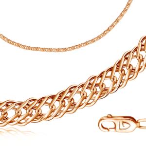 Браслет красное золото Ромб Тройной d050 полновес
