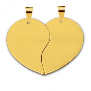 Жетон золотая сталь Половинки сердца средние