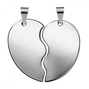 Жетон серебряная сталь Половинки сердца