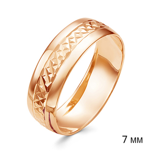Кольцо обручальное красное золото алм.грань 7мм