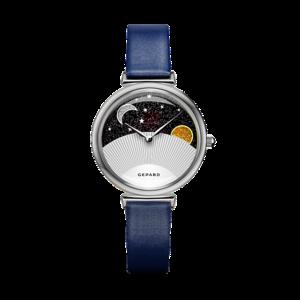 Часы GEPARD кварцевые ремень синий, фианиты