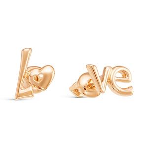 Серьги пусеты красное золото LOVE