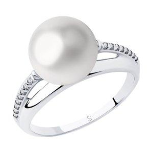 Кольцо серебро Классический жемчуг фианиты