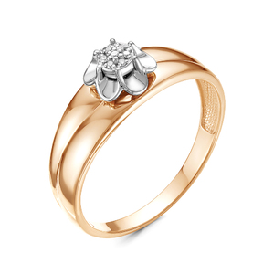 Кольцо красное золото Флора бриллианты