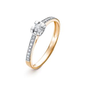 Кольцо красное золото Классический бриллиант