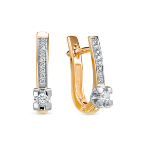 Серьги красное золото Классический бриллиант
