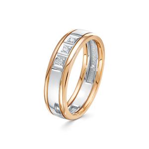 Кольцо обручальное красное золото Классическое бриллианты