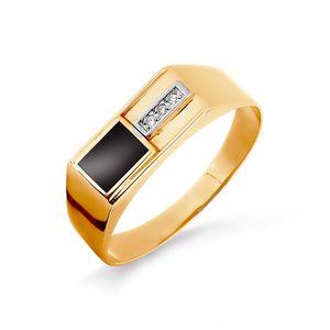 Печатка красное золото Прямоугольник фианиты, чёрн.эмаль