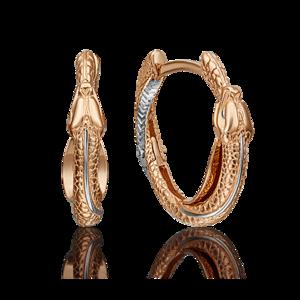 Серьги-конго красное золото Змея