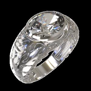 Кольцо серебро Овал фианит