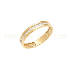Кольцо обручальное красное золото фианиты