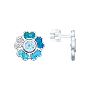 Серьги-пусеты серебро Цветок скай топаз, фианиты, голуб.эмаль