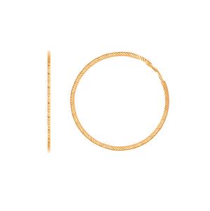 Серьги-конго красное золото алм. грань узкие  d40