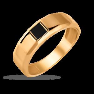 Кольцо мужское красное золото Геометрия оникс