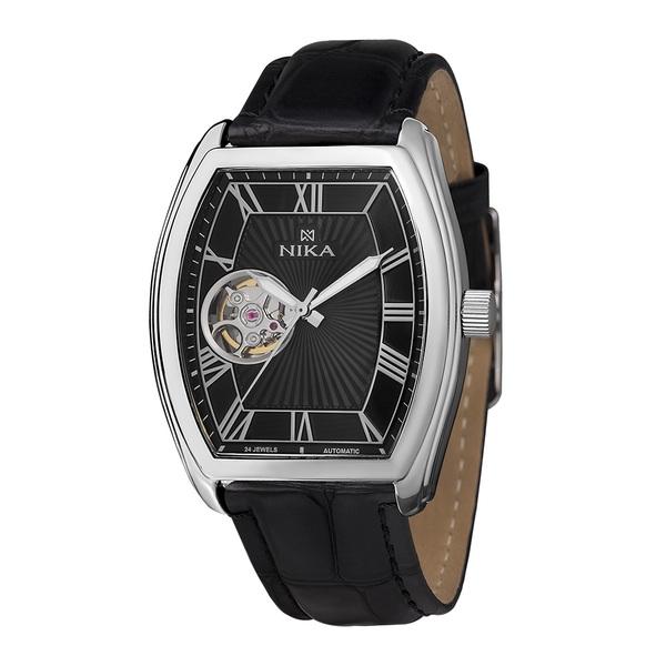 Часы Nika серебро механические ремень черный 22мм