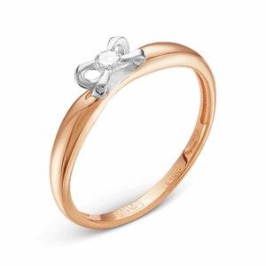 Кольцо красное золото Бант бриллианты