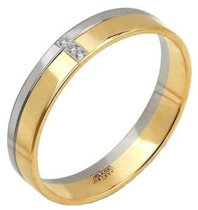 Кольцо обручальное комб. золото бриллианты