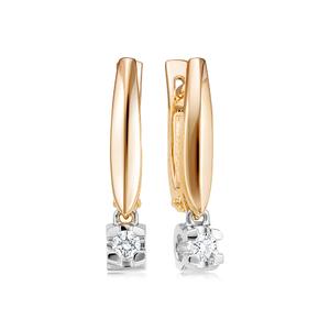 Серьги комбинированное золото с подв.эл. Классический бриллиант