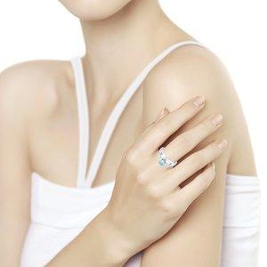 Кольцо серебро Фантазия топаз свисс, эмаль,фианиты